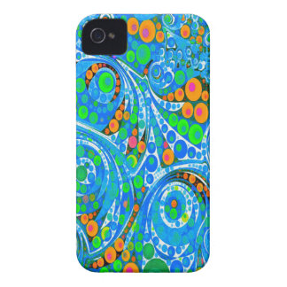 Florescent Blue Green Abstract iPhone 4 Cases