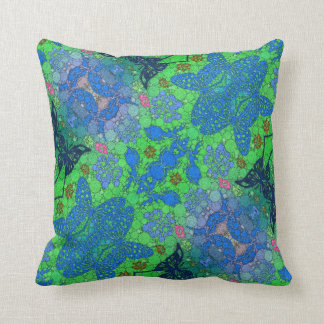Florescent Blue Green Butterfly Abstract Cushion