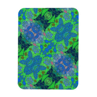 Florescent Blue Green Butterfly Abstract Rectangular Photo Magnet