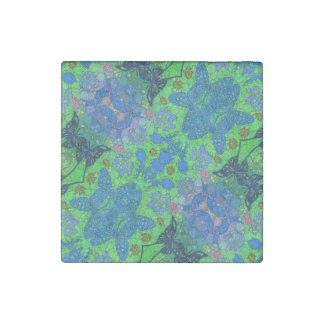 Florescent Blue Green Butterfly Abstract Stone Magnet