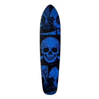 Florescent Blue Green Skull Bling Skateboards