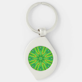 Florescent Green Abstract Silver-Colored Swirl Metal Keychain