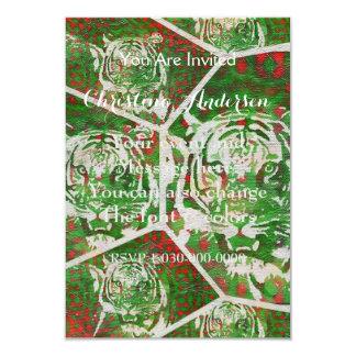 Florescent Green Red Tiger 9 Cm X 13 Cm Invitation Card