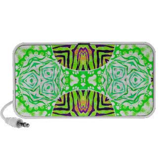 Florescent Green Zebra Paws Travel Speakers