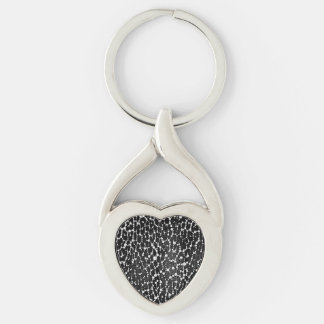 Florescent Leapord Print Silver-Colored Twisted Heart Keychain