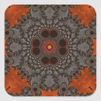 Florescent Orange and grey Fractal Kelidescopee Square Sticker