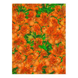 Florescent Orange Green Flower Abstract Postcard