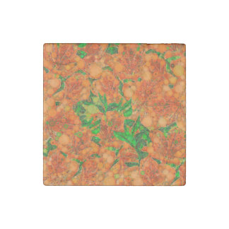 Florescent Orange Green Flower Abstract Stone Magnet