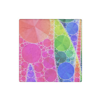 Florescent Pink Blue Bling Abstract Stone Magnet