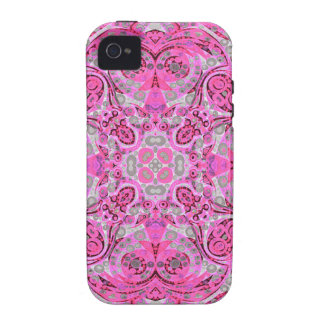 Florescent Pink Grey Abstract Vibe iPhone 4 Case