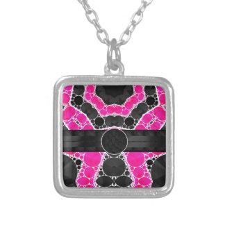 Florescent Pink Silk Monogram Square Pendant Necklace