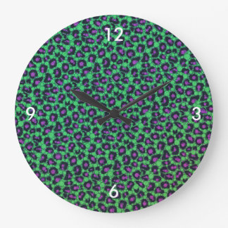 Florescent Printed Bling Animal Print Clock