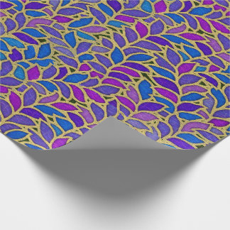 Floresta blue, violet and gold wrapping paper
