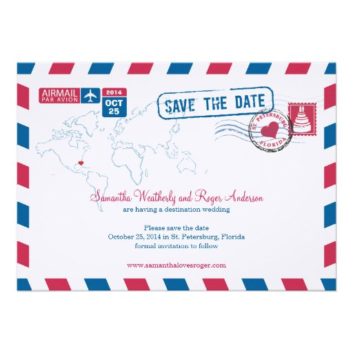Florida Air Mail Wedding Save The Date Invitation
