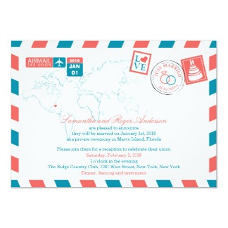 Florida Airmail Post Wedding Reception Card