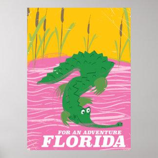 Florida Alligator vintage travel poster