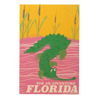 Florida Alligator vintage travel poster Wood Canvas