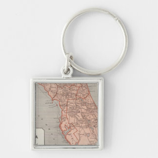 Florida Atlas Map Silver-Colored Square Key Ring