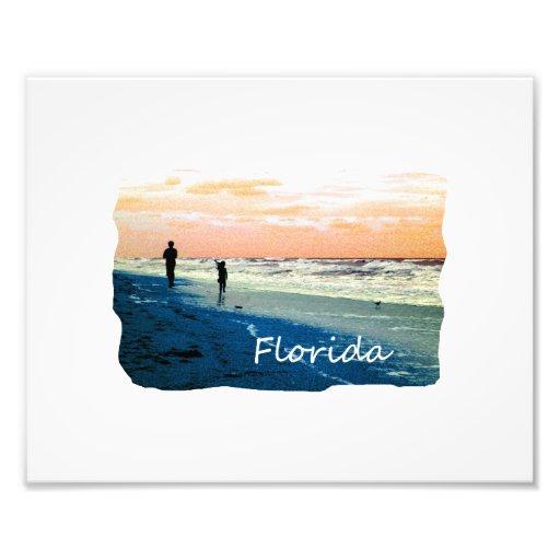 Florida Beach Scene People Running Orange Blue Photographic Print