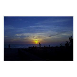Florida Beach Sunset in Blue Poster