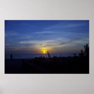 Florida Beach Sunset in Blue Print