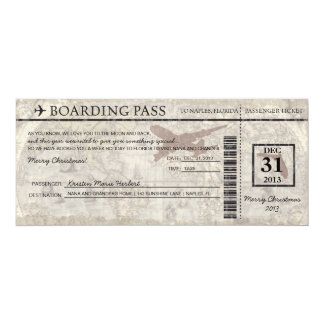 Florida Boarding Pass 10 Cm X 24 Cm Invitation Card
