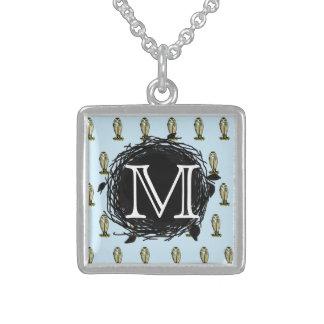 Florida Burrowing Owl Blue Monogram Pattern Custom Jewelry