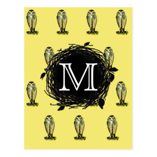 Florida Burrowing Owl Yellow Monogram Pattern Postcard