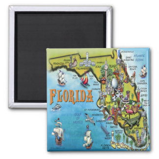 Florida Cartoon Map Square Magnet