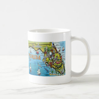 Florida Cartoon Map Coffee Mugs