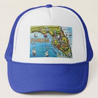 Florida Cartoon Map Trucker Hat