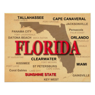 Florida Cities And Towns State Pride Map Poster