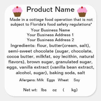 FLORIDA Cottage Food Law Sticker/Label Square Sticker