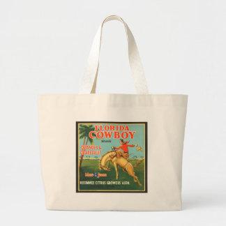 Florida Cowboy Oranges & Grapefruit Vintage Ad Jumbo Tote Bag