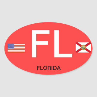 Florida* Euro-Style Oval BumperSticker Oval Sticker