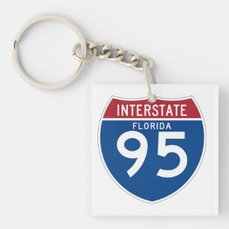 Florida FL I-95 Interstate Highway Shield - Double-Sided Square Acrylic Key Ring