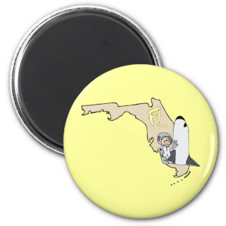 Florida FL Map & Space Shuttle Cartoon Art Motto 6 Cm Round Magnet