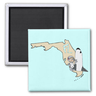 Florida FL Map & Space Shuttle Cartoon Art Motto Square Magnet