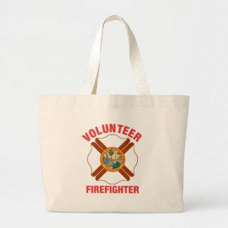 Florida Flag Volunteer Firefighter Cross Jumbo Tote Bag
