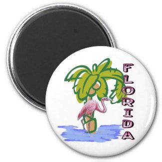 Florida Flamingo 6 Cm Round Magnet