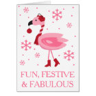 Florida Flamingo Tropical Beach Christmas Holiday Card