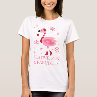 Florida Flamingo Tropical Beach Christmas Holiday T-Shirt
