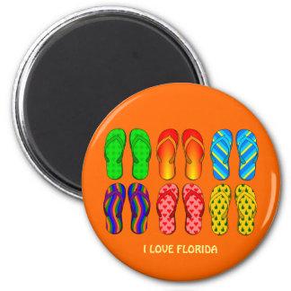 Florida: Flip Flops 6 Cm Round Magnet