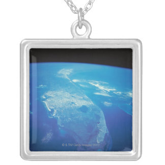 Florida from Space 2 Silver Plated Necklace
