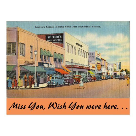 Florida, Ft. Lauderdale, Andrews Ave. Postcard