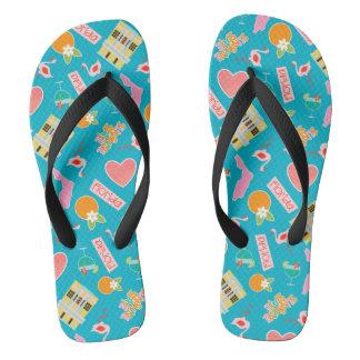 Florida Fun Pattern Turquoise Flip Flops