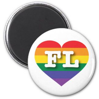 Florida Gay Pride Rainbow Heart - Big Love 6 Cm Round Magnet