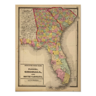 Florida, Georgia, and South Carolina Poster