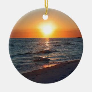 Florida gulf coast sunset christmas ornament