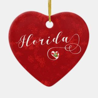 Florida Heart, Christmas Tree Ornament, Floridian Christmas Ornament